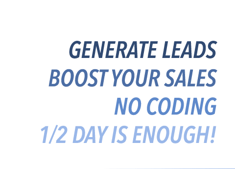 Generate leads, boost your sales, no coding, 1/2 day is enough
