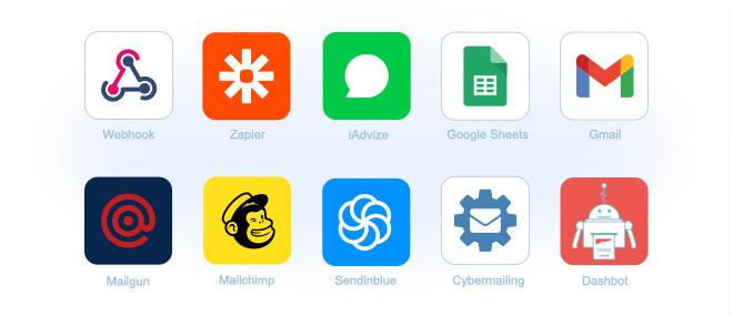 connect your chatbot to zapier, mailchimp, wordpress, google sheets, gmail, sendinblue